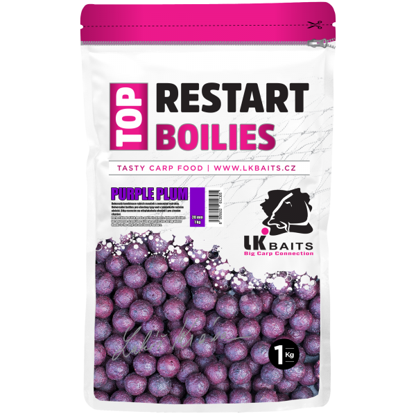 LK Baits Top ReStart Boilies Purple Plum  18 mm, 1kg